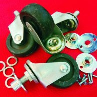 Swivel ball bearing caster set, mounting plates, washers and screws (NOS) vinyage 70´s.